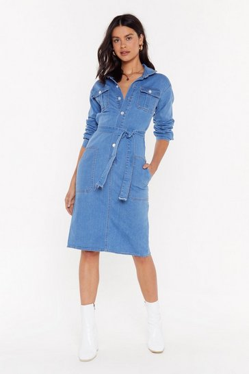 Womens Mid blue Pressin' Them Buttons Denim Midi Dress