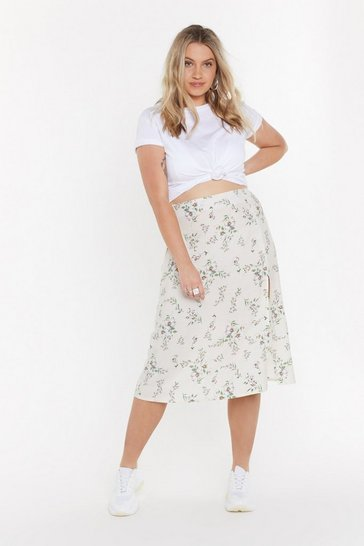 Womens White The Way It Grows Floral Midi Skirt