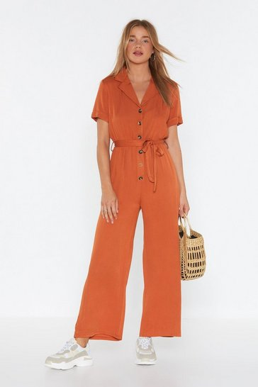 Womens Rust It's a Long Story Wide-Leg Jumpsuit