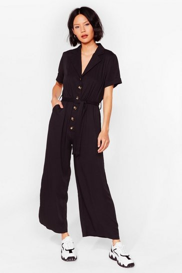 Womens Black It's a Long Story Wide-Leg Jumpsuit