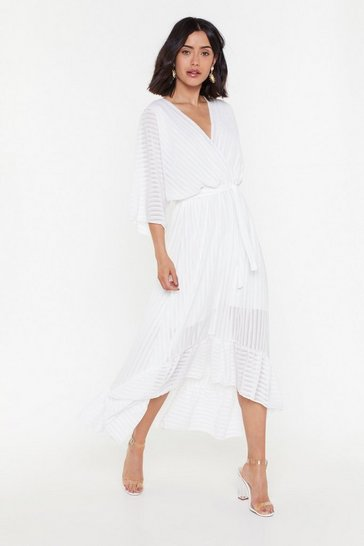 Womens White Sheer Stripe Wrap Midi Dress