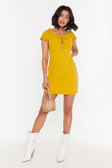 Womens Gold Dressed to Impress Lace-Up Mini Dress