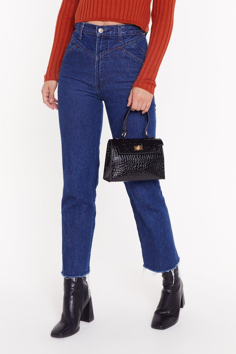 Want Croc Me Faux Leather Shoulder Bag by Nasty Gal