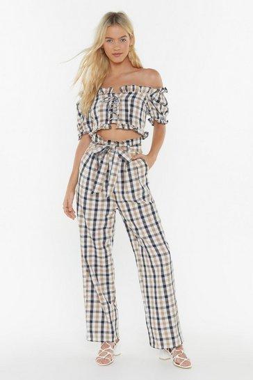 Womens White Keep 'Em in Check Paperbag Pants
