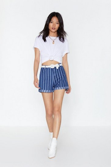 Womens Denim-blue This House is a Circus Striped Denim Shorts