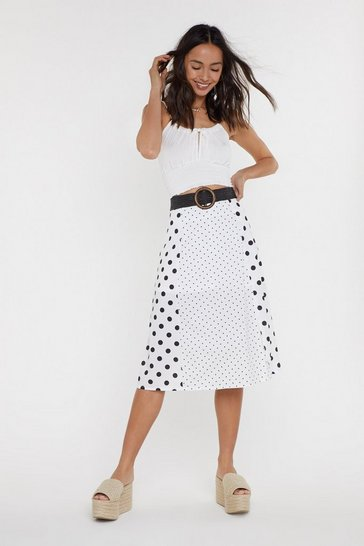 Womens White Dot My Fave Skirt Slit Midi Skirt