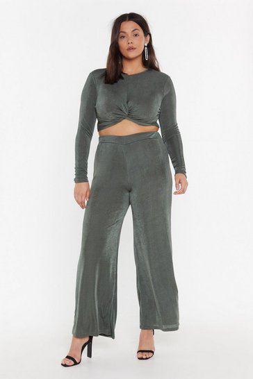 Womens Khaki I'm Knot Kidding Plus Crop Top and Trousers Set