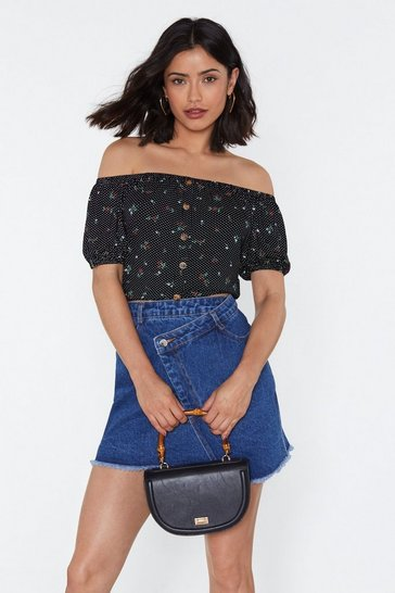 Womens Black I Can't Be-leaf You Floral Off-the-Shoulder Top