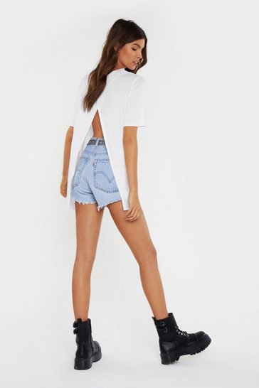 White Back It Up Slit Relaxed Tee