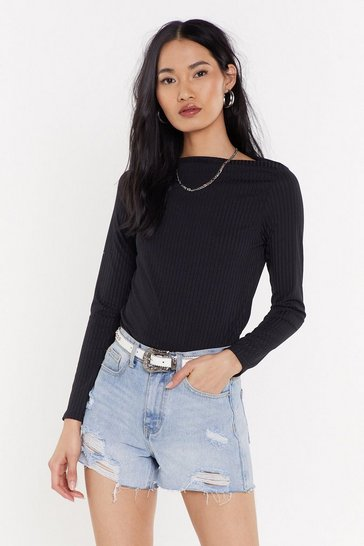 Womens Black Slash Neck Ribbed Top