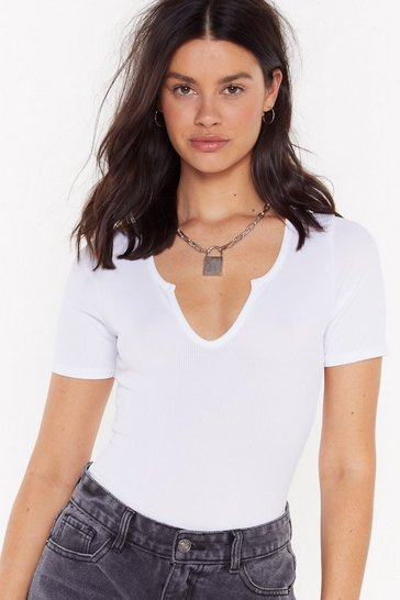 Womens White Notch Now Ribbed Bodysuit