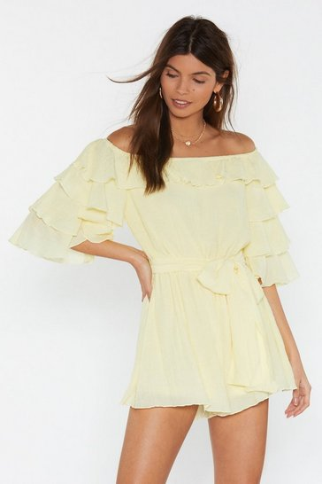 Womens Lemon Move in For the Frill Off-the-Shoulder Playsuit