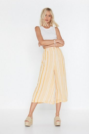 Womens Yellow Here Comes the Sun Stripe Wide-Leg Pants