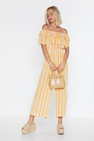 Womens Yellow Tier Comes the Sun Striped Jumpsuit