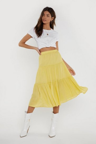 Womens Yellow Tier We Go High-Waisted Midi Skirt