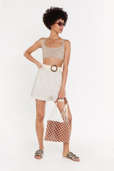 Womens Stone Just My Stripe Paperbag High-Waisted Shorts