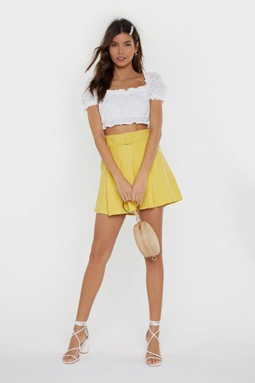 Womens Yellow Not What You Skort Belted Shorts