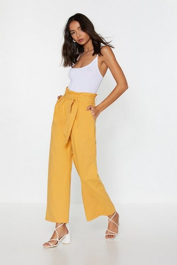 Womens Mustard Paperbag Trousers