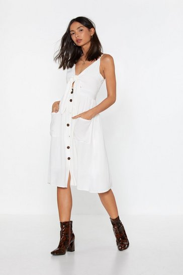 Womens White If Knot For You Tie Midi Dress