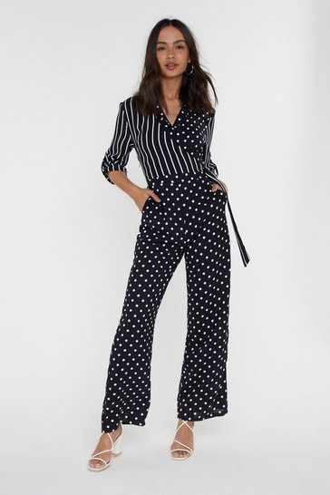 Womens Black In the Mix Polka Dot and Stripe Jumpsuit