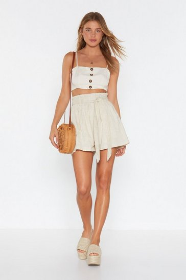Womens Sand Bag to It Linen Tie Shorts
