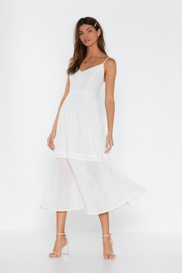 Womens White A Lace in the Sun Midi Dress