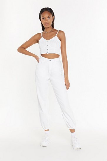 Womens White Cargo On Without Denim Jeans