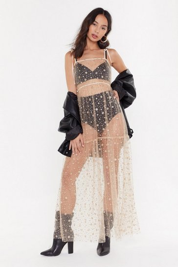 Womens Gold Spark Up Mesh Glitter Maxi Dress