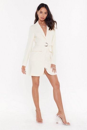 Womens Ivory Ring Pull Belted Mini Blazer Dress