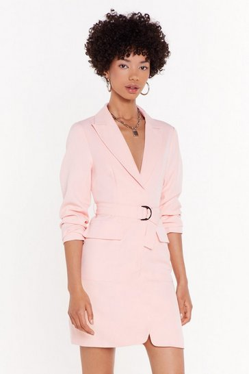Womens Blush Takin' Care of Business Belted Blazer Dress