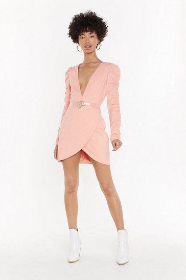 Womens Coral Live It Up Plunging Ruched Dress