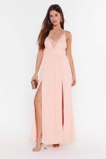 Womens Blush Plunge Lace Tie Waist Maxi Dress