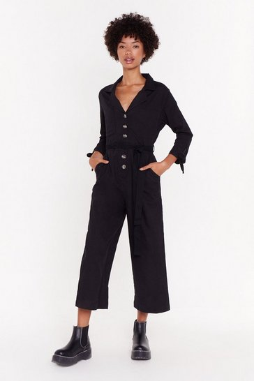 Womens Black Touch My Buttons Cropped Jumpsuit