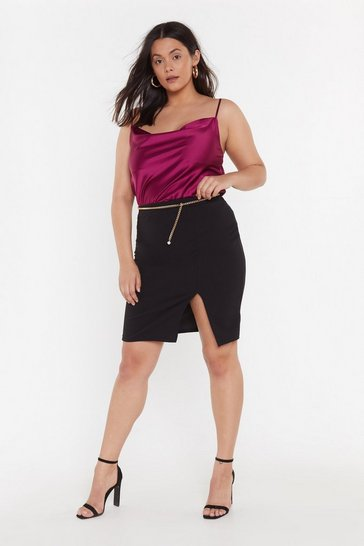 Womens Black I'll Get Over Slit Plus Midi Skirt
