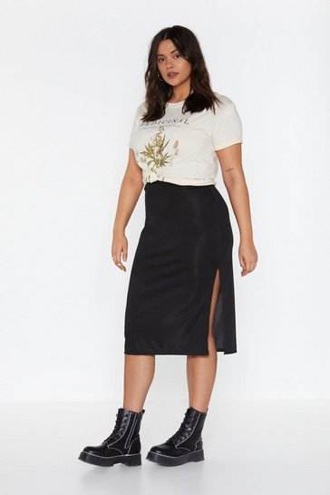 Womens Black Be Side Me Slit Midi Skirt