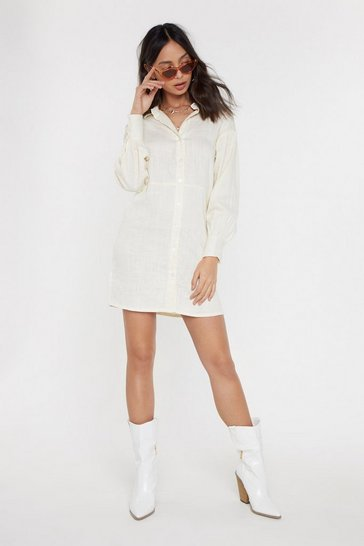 Womens Cream Don't Shirt My Feelings High-Low Shirt Dress