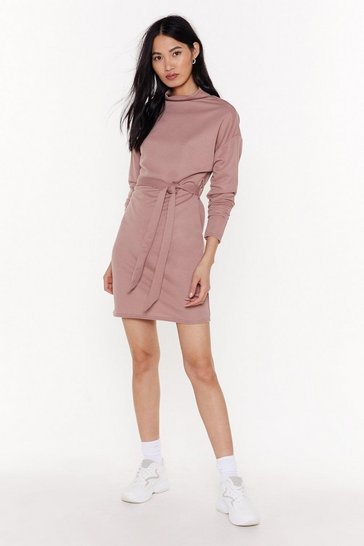 Womens Rose Tie A Little Harder Knit Sweater Dress