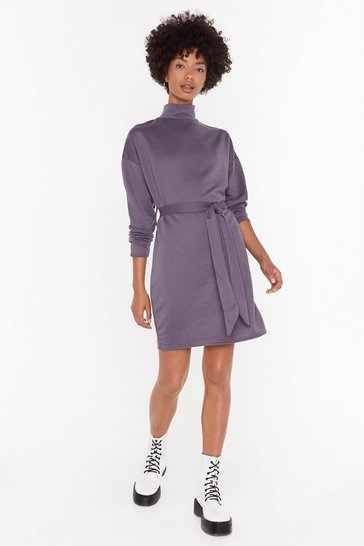 Womens Mauve Tie A Little Harder Knit Sweater Dress