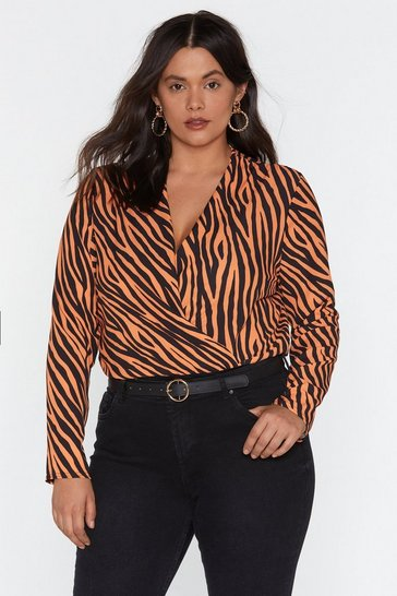 Womens Orange Fierce Female Tiger Plunging Bodysuit