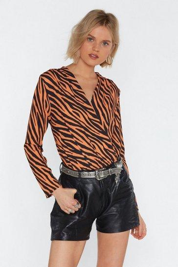 Orange Fierce Female Tiger Plunging Bodysuit