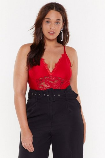 Womens Red MS Lace Bodysuit
