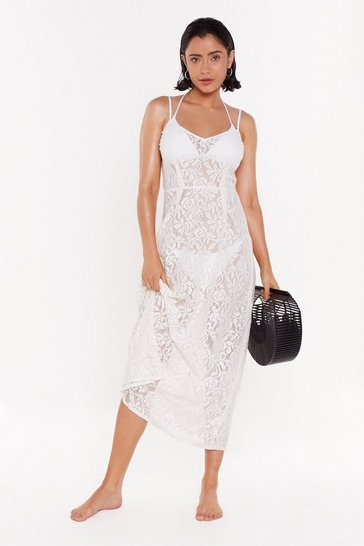 Womens Cream Beach to Their Own Lace Maxi Beach Dress