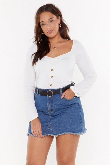 Womens White Oh Sweetheart Square Neck Crop Top