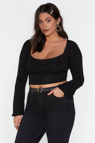 Womens Black Another Cup Square Neck Top