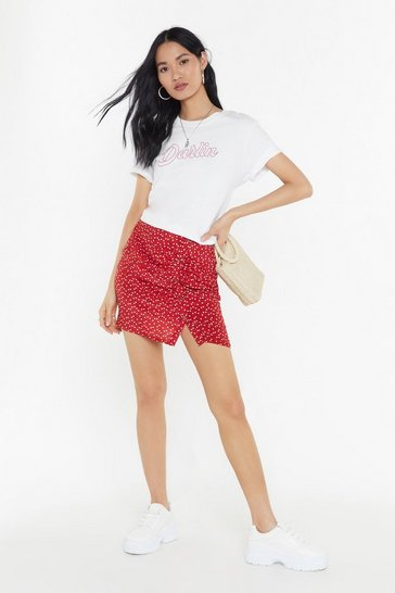 Womens Red Follow Your Heart Ruched Mini Skirt