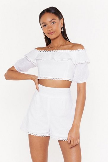 Womens White Take It Off-the-Shoulder Broderie Crop Top