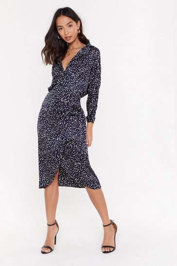 Womens Navy Polka Dot Co-Ord Wrap Skirt