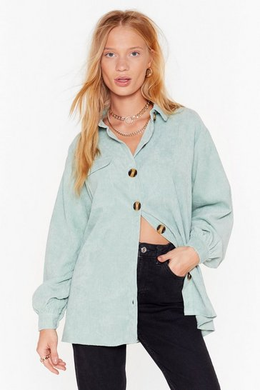 Womens Mint Don't Texture Back Oversized Corduroy Shirt