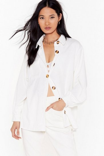 Womens White Don't Texture Back Oversized Corduroy Shirt