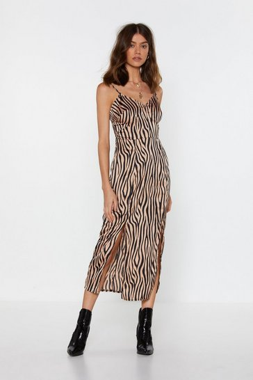 Womens Brown It's Not All Black and White Zebra Midi Dress